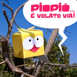 PiOPiO  is flown via! The last time has been sighted on a tree! If someone of you has seen, enters in ScaraBOX and leaves us one its photo! (for NOTCOT : excuse for my English:)