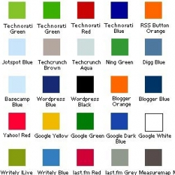 Oh SwissMiss, you find the funniest things! Miles Burke's Web 2.0 Color Palette, even has a zip of a Photoshop Color Palette.... now where are the paint swatches? LOVE the naming.