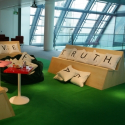 Stephen Reed's Wordplay Installation ~ how sweet are these scrabble pillows/benches? Interactive seating based on scrabble provides a short break area for employees in the London offices of Bloomberg financial services
