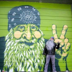 Peat Wollaeger created Beardy McGreen - a 12'x13.5' stencil!!! HUGE! And it made me laugh.