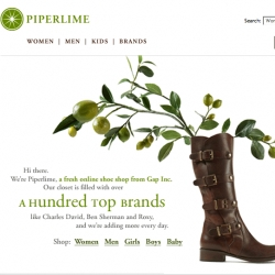 it's 3am and i'm confused but i guess its news. Gap Inc's latest store - Piperlime? (wha?) and they sell hundreds of designer shoes... and they have guest editors. The branding/concept feel very zappos meets starburst?