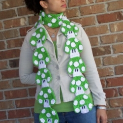 Custom 1-UP Mushroom Crochet Scarf Diy Mario Bros. Nintendo  by Urban Princess