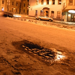 In the snowy streets of Russia - ice fish!!!