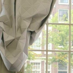 hannah allijn's faceted curtain is going into production! Love the way the creases fold like perfect origami mountains in the making...