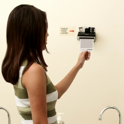 "So you're washing your hands... and look up and see no mirror, instead a polaroid. Great campaign on ""instant images"""