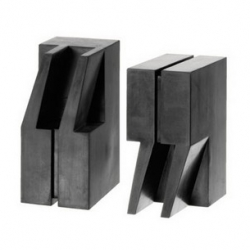 "Designed by eric janssen, the ""quote/unquote"" bookends made of concrete core with synthetic rubber exterior 2.75"" w x 4"" d x 6"" h - weight: 2 lbs. each"
