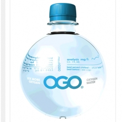 "It's OGO Water, or 'The Breathing Water,"" as its manufacturer has dubbed it. From the Netherlands, OGO has an oxygen concentration that is 35 times higher than regular water. Available in still, sparkling, and Flower Power"