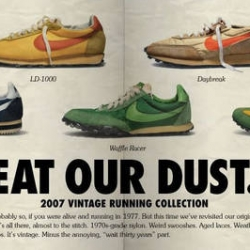 Beautiful new Nike Vintage Running Site designed like an old runners magazine and the product new, but designed after the original 30 year old sneakers also looks great!
