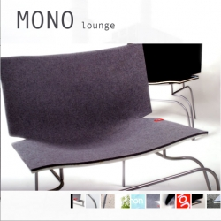 MONO Lounge by non-designs. I love the felt + fiberglass + steel combination. and the little read tag.