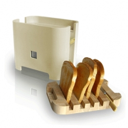Reggeli Toaster- Contemporary design to suit the modern lifestyle. Toaster has been designed from observing user needs. When not in use the board acts as a lid keeping the toaster clean.