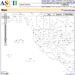 ASCII live renders of GOOGLE MAPS!! i love it.
