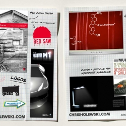 Chris Holewski's HTML Portfolio, just one flipping huge image of work. Check it out.