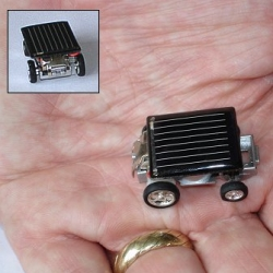 Another solar race car, less adorable, but tinier - 33 x 22 x 14 mm.
