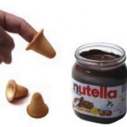 inverted cones for nutella. yum.