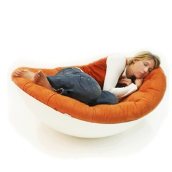 chair/cocoon/egg thing from german designers at Confused Direction. Wait until she's asleep, then... wibble- wobble!!