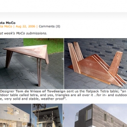 Brilliant flat pack triangle based table