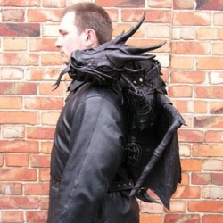 Leather dragon backpack.  Cell phone goes in it's mouth.