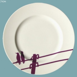 Gorgeously fun birds on a wire silhouette plate by Snowden Flood