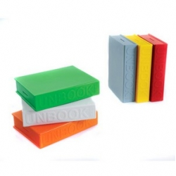 """Designed by josh owen, the unbook bank/bookend , made of polyethylene. 2.4"""" x 8.4"""" x 10.8"""" and now available in colors: light blue, white, grey, orange, red, green and yellow"""