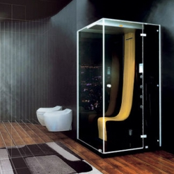 Jacuzzi Morphosis Omega Steam Shower with Hydromassage by Pininfarina, a famous car design company - looks gorgeous.