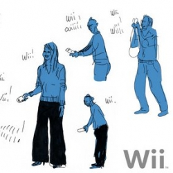 Stephane Kardos' sketch blog has some really fun sketches from the toy fair... especially loving this playful sketch of people wii-ing.
