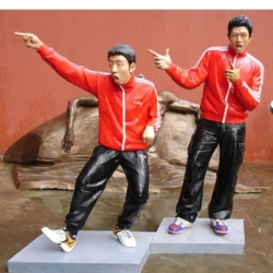 "famous Asian pop stars the ""Backdorm Boys"" They apparently graduated this week from the Guangzhou Arts Academy sculpture program and these life-sized statues of themselves were their final projects."