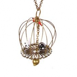 """pet shop necklace - A miniature three-dimensional cage holds three glass birds. Lobster clasp. 17""""l brass chain. 3""""l pendant. France."""