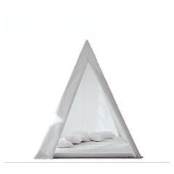 Outdoor Wigwan (teepee) for grown-ups! Made of anonized aluminium profiles and plastic.There is a front entrance.Includes small interior mattress made of nautical plastic. By Gandia Blasco