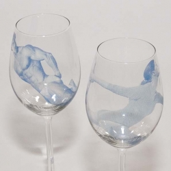 Esther Derkx has  added her trademark humor in the form of designs screenprinted onto wine glasses.