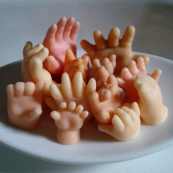 Soap in the shape of little hands.  A bit creepy, but in the kind of way that makes me not able to look away. [Editor's Note: thanks to everyone who submitted this ~they scare me! & ilikesocks was first]