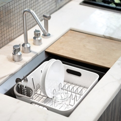 Simple Human's plastic compact dishrack ~ interesting in that you can place it IN your sink to have more space...