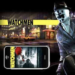New iPhone/touch game coming ~ Last Legion Games created Watchmen: Justice is Coming, a multiplayer online adventure fighting game - soon players will be able to chat and battle other players while wandering 1970s New York City. (Congrats, Silvio!)