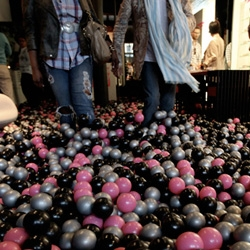 "Ørgreen Optics and Artsee's ""Playground: Where Danish Design Meets Japanese Perfection"" = black, silver, hot pink BALL PIT!!!! You know you want to see the pics..."
