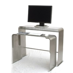 One Less Desk ~ an interesting super minimalist desk design from Heckler ~ particularly for the mac fan boys, but the idea of two thin desks like this for various configs is pretty sweet if you're not into desk space
