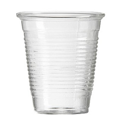Pixie Cups - Paper-thin, light as a feather drinking cups like the good old days - Only these are hand blown, heat-tempered, chem lab beaker glass with a neat retro ring design. Keep 'em stacked by the sink.