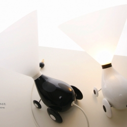 Not yet in production but super cute, the Light Boy lamp by 83 design from Japan. Designed to be around you all the time, like a pet. the fun lamp features a shade reminiscent of the cones pets wear when they've had an operation.