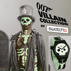 Swatch has their 007 James Bond Villains collection, and this Live and Let Die glow skeleton one is pretty fun!