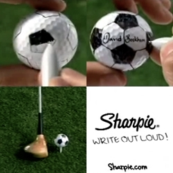 Sharpie ~ Write Out Loud! ~ fun David Beckham Golf Ball commercial
