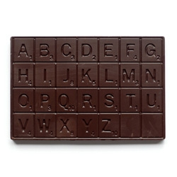 Valentine's day guy!! Get a Chocolate Scrabble by Mary & Matt. With dark chocolate, a great taste and spell alphabetical words just another great designer idea.