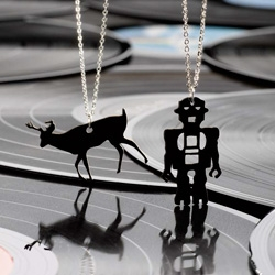 Super cute RECORD NECKLACES! Deers and Robots! (don't forget to use your delight coupon!)