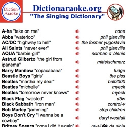 Dictionaraoke - Dictionary Karaoke!!! Audio clips from online dictionaries sing the hits of yesterday and today. The fun of karaoke meets the word power of the dictionary.