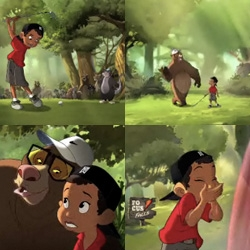 "This was all over TV last night ""Gatorade Presents Tiger's 'Woods of Wisdom' - TBWACD crafts animated Disney-style effort"" ~ Tiger Woods goes Jungle Book ~ with Samuel L. Jackson as a wise bear"