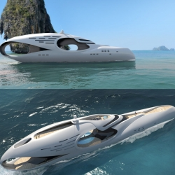 Schöpfer Yachts has just introduced the Infitinas, their second yacht design following the Oculus. Based on the infinity symbol, the yacht has a carved out stern and midsection which features a pool with a glass walkway.