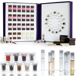 Vosges' Chocolate has a $375 gift set: Chocolate and the Nose: The Sensory Collection. Chocolates from 15 countries, 42 aromas, guidebook, flavor wheel, notebook, and a blindfold!