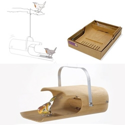Stadtnomaden's Piepschau bird house is adorable! And it can be taken apart and dispatched in an A4 box