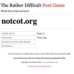 Remember the Rather Difficult Font Game from #9902 - i'm so excited that they added us in as part of their test!!!