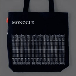 Ooh cute white on black tote with red tag from Monocle when you get a subscription