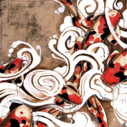 """Due to overwhelming requests, inquiries and love off the Koi series, we are happy to publish this large print on beautifully smooth semi matte paper.  A limited edition of 250, 24"""" x 24"""" , 2"""" inch bleed, hand signed and number.  $60!"""