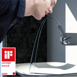 """""""Push the nose of FLUID down to wash your hands. Push it up to rinse your mouth or simply to drink some fresh water. The more you push up or down, the more water will flow out. In the level position the water will stop."""" By the *other* Köhler Design"""