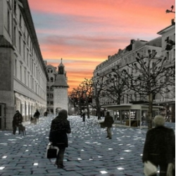 """""""Walk around the place du Molard in Geneva, Switzerland, and you'll be walking on stars. Two thousand LED light sources equipped with 10 000 white Power TOPLEDs have been set into the paving stones."""" Sounds stunning..."""